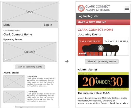 Clark University give page redesign site map