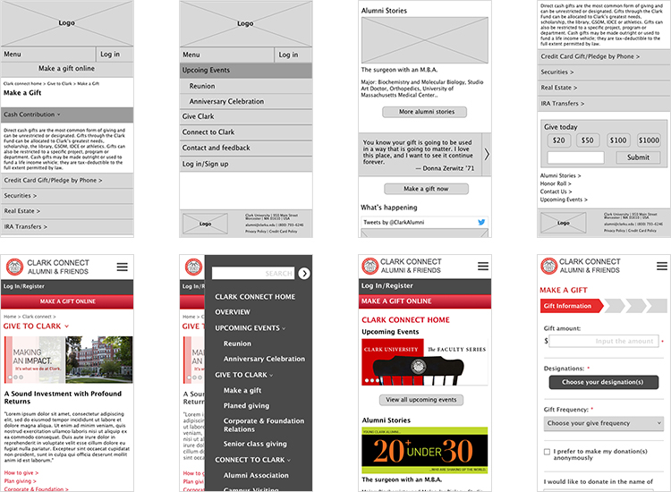 Clark University give page redesign prototype